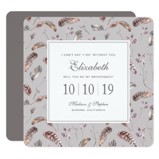 Vintage Feather and Floral Pattern - Bridesmaid Card