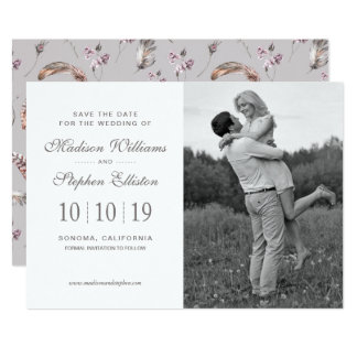 Vintage Feather and Floral Pattern - Save the Date Card