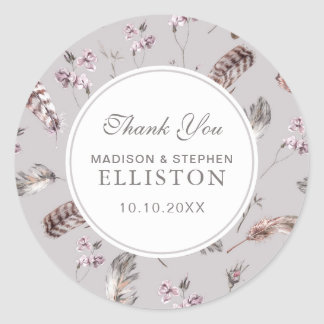 Vintage Feather and Floral Pattern | Thank You Round Sticker