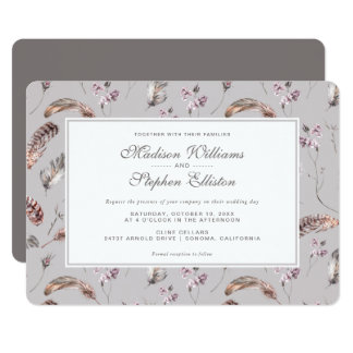 Vintage Feather and Floral Pattern - Wedding Card