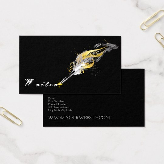 Vintage Feather Quill Pen Business Card