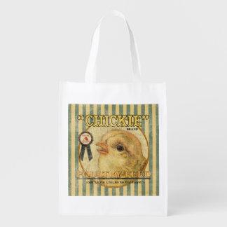Vintage Feed Sack, Chickie, grocery bag