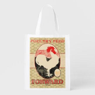 Vintage Feed Sack, Forward rooster, grocery bag