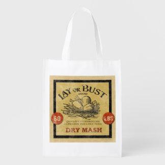 Vintage Feed Sack, Lay or Bust, grocery bag