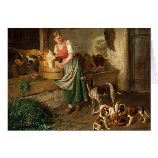Vintage - Feeding the Cows & Puppies, Card