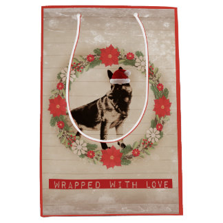 Vintage Feel German Shepherd Holiday Medium Gift Bag