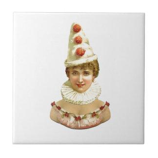 Vintage Female Clown Tile