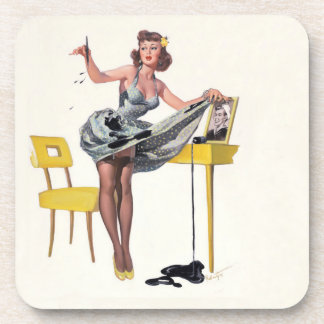 Vintage female pin-up, coaster, ohlala drink coasters
