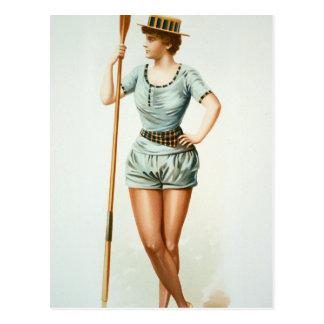 Vintage Female Rower with Oar Postcard