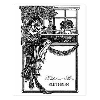 Vintage Feminine Chic Ex Libris Label Rubber Stamp