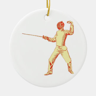 Vintage Fencer Illustration Ceramic Ornament