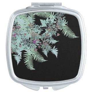 Vintage Ferns & Clematis Flowers Floral Mirror Mirrors For Makeup