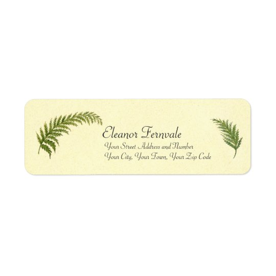 Vintage Ferns Watercolor by Emma Robert-Charrue Return Address Label
