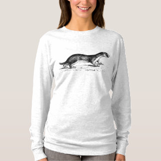 Vintage Ferret Woodblock Artisan Style T-Shirt