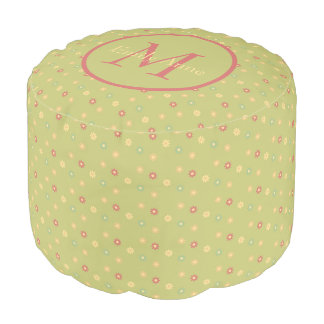 Vintage Ferris Wheel Daisies on Green Monogram Pouf