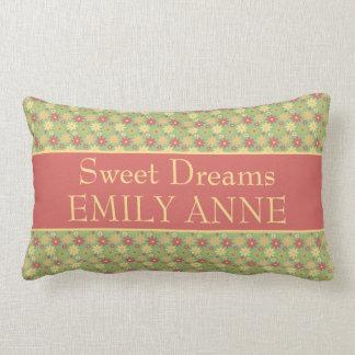 Vintage Ferris Wheel Daisies on Green Sweet Dreams Lumbar Pillow