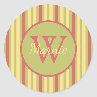 Vintage Ferris Wheel Stripe Monogram Classic Round Sticker