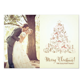 VINTAGE FESTIVE CHRISTMAS TREE HOLIDAY PHOTO CARD