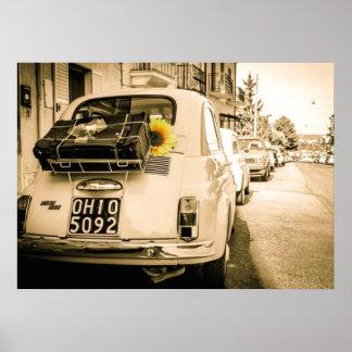 Vintage Fiat 500, Cinquecento, in Italy Poster