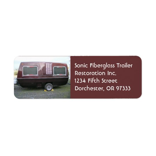 Vintage Fiberglass Travel Trailer Return Address Label