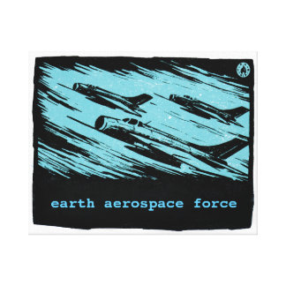 Vintage fighter jets - Earth Aerospace Force Canvas Print