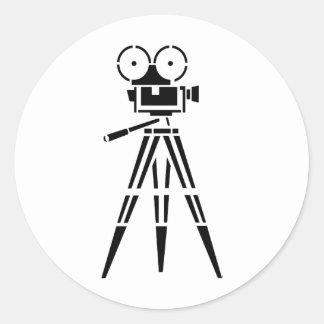 Vintage Film Movie Set Camera Round Sticker