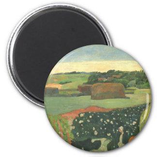 Vintage Fine Art, Haystacks in Brittany by Gauguin 2 Inch Round Magnet
