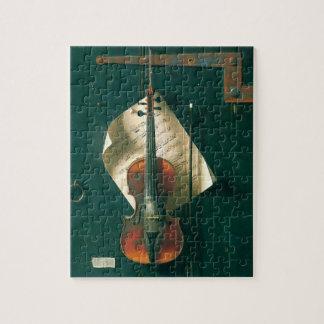 Vintage Fine Art, Old Violin Still Life by Harnett Jigsaw Puzzle
