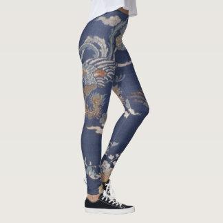 Vintage Fine Art Textile Design Blue Dragon Leggings