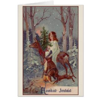 Vintage Finnish Hauskaa Joulua Christmas Card
