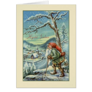 Vintage Finnish Hyvää Joulua Christmas Card