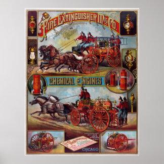 Vintage Fire Extinguisher Advertising Poster