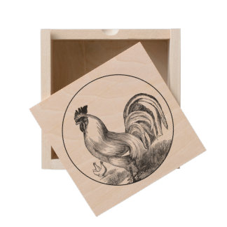 Vintage fire rooster illustration