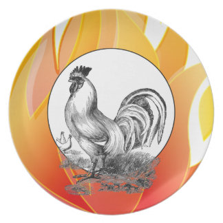 Vintage fire rooster illustration party plate