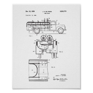Vintage Fire Truck Patent Poster, Firefighter Poster