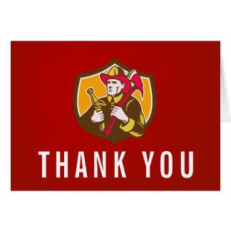 Vintage Firefighter Illustration Custom Thank You Card