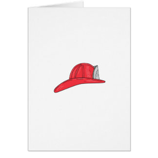 Vintage Fireman Firefighter Helmet Drawing Card