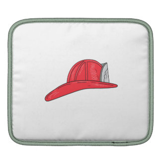 Vintage Fireman Firefighter Helmet Drawing iPad Sleeve