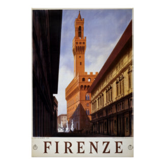 Vintage Firenze Italy Travel Poster