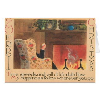 Vintage Fireplace Christmas Greeting Card
