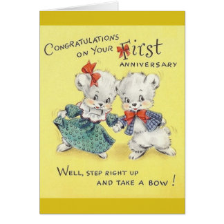 Vintage First Anniversary Greeting Card