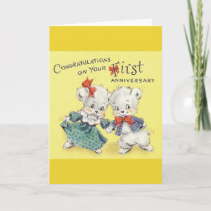First anniversary cards zazzle vintage first anniversary greeting card m4hsunfo