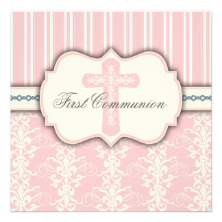 Vintage First Communion Pink Damask Invitation