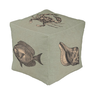 Vintage Fish Crab Shell and Octopus Pouf