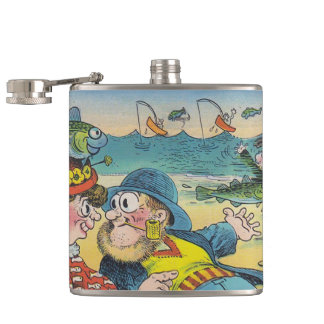 Vintage Fish Hat Gone Fishing Fun Tag-along Flask
