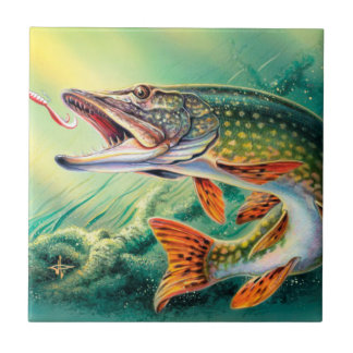Vintage fish home decor tile