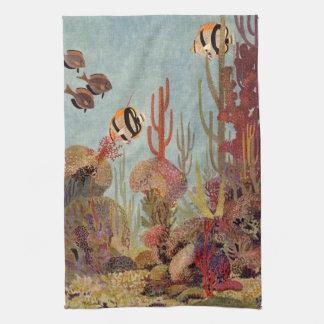 Vintage Fish in Ocean, Tropical Coral Angelfish Kitchen Towels