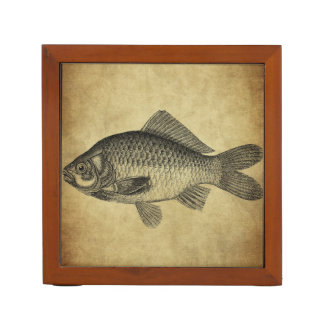 vintage fish ink stamps desk organizer
