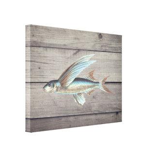 Vintage Fish on Rustic Wood Background Canvas Print