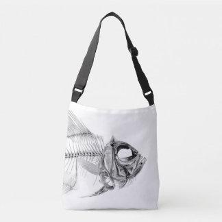 Vintage fish skeleton etching crossbody bag